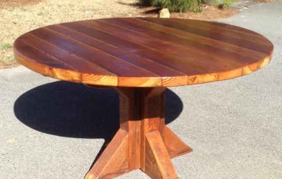 """RoundDining Table        54"""" Plank  Angular Trestle base  Natural finish     $1,295"""