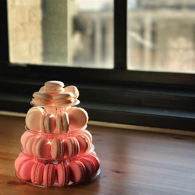 we had the special honor of making this tiny pink tower for a baby shower today. featured flavors: almond, vanilla, and strawberry. Yummy! Reach out to us for your next event! #babyshowers #bridalshowers #macarons #italianmethod #dallasbaker #mydtd