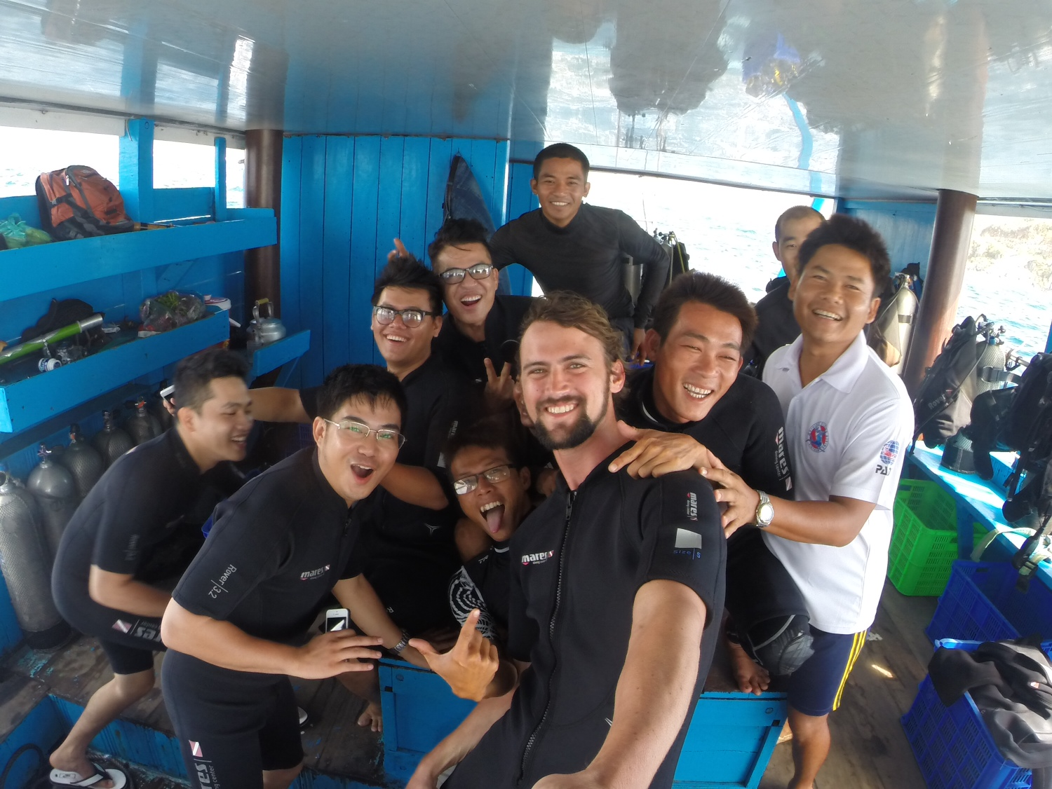 Scuba dive boat in Nha Trang with the famous  Thanh Bach  on board.