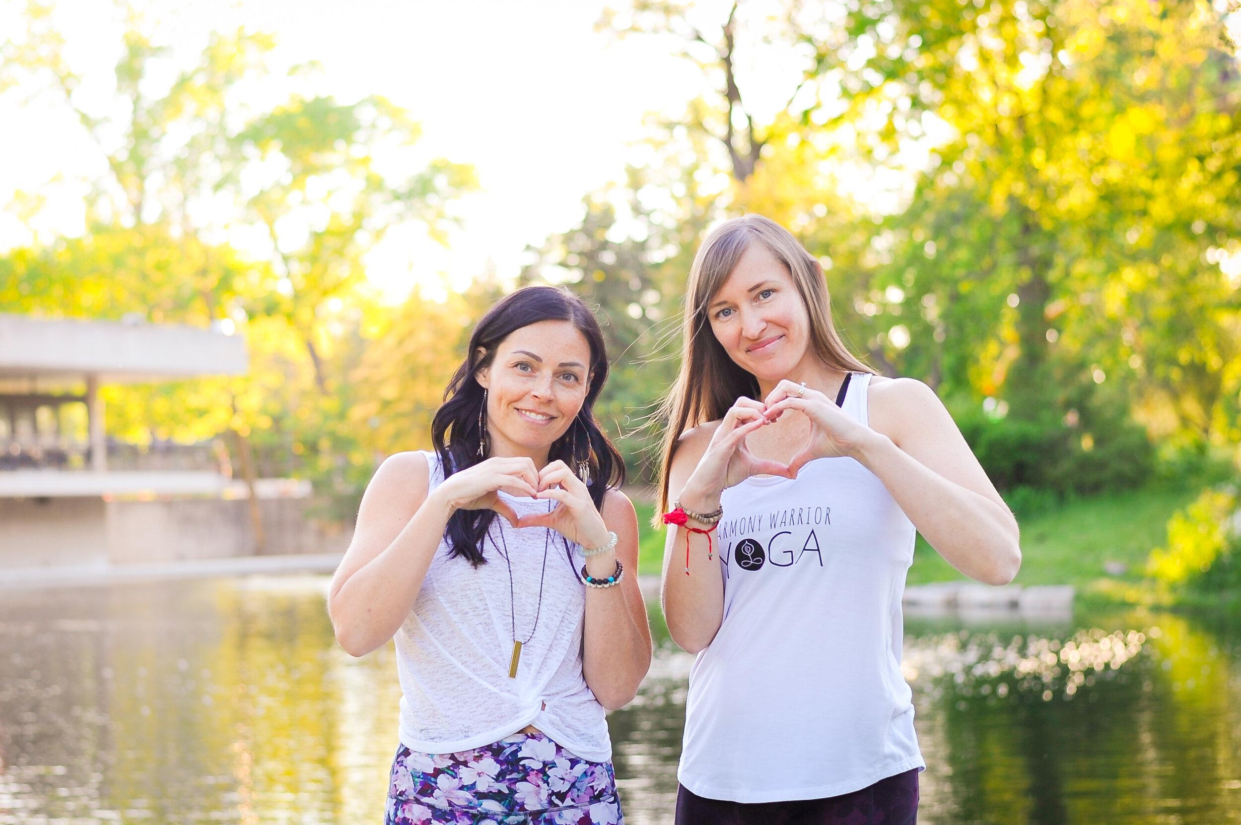 Kim Dorge (left) and Jen Breckman (right), Harmony Warrior Yoga Co-founders.
