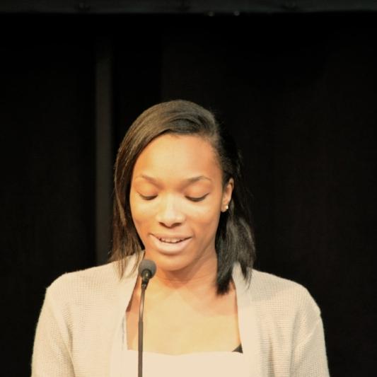 Lundstrum Student Kiara Jones speaks at Inspiring Dreams breakfast, October 2016.