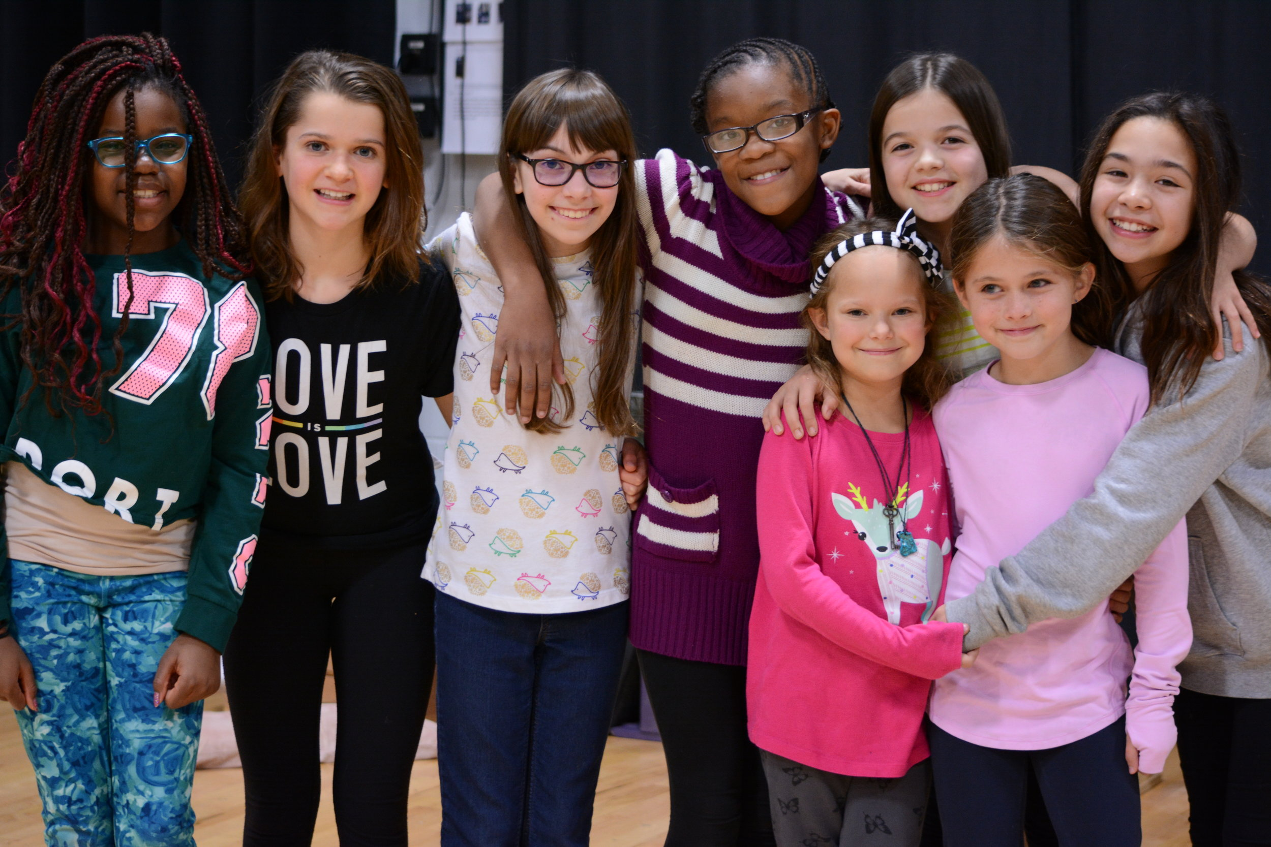 The orphans of Annie with Audrey (far right) and Brianna-Marie (center stripes).
