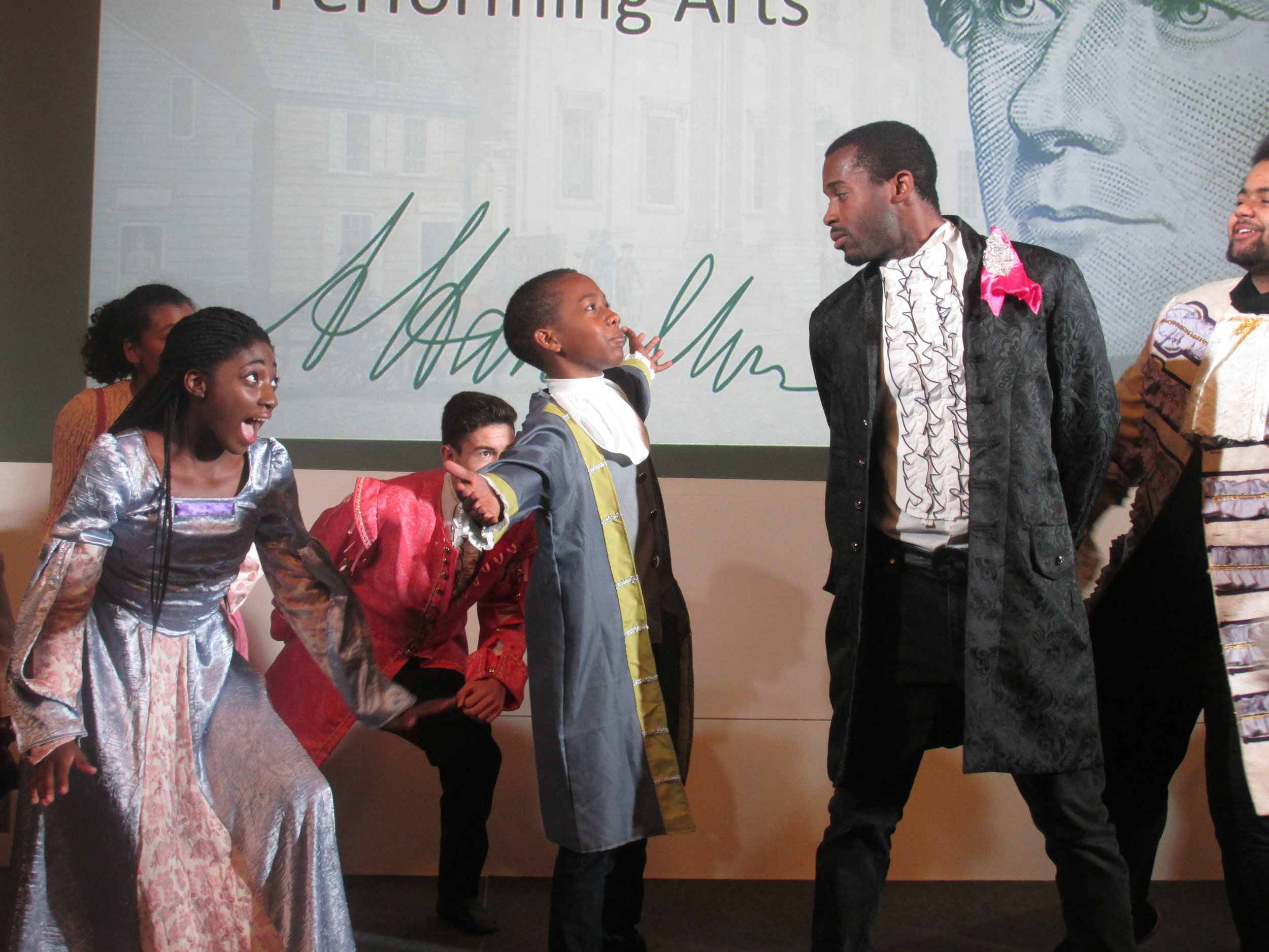"Lundstrum Students Perform at the Minneapolis Federal Reserve - In September, our students were honored to perform an adaptation of the opening number from ""Hamilton"" to open an exhibit at the Federal Reserve Bank about the life of Alexander Hamilton. They rocked it!"