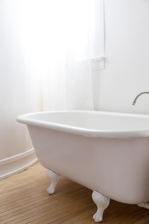 clawfoot bathtub in The Ferg bathroom