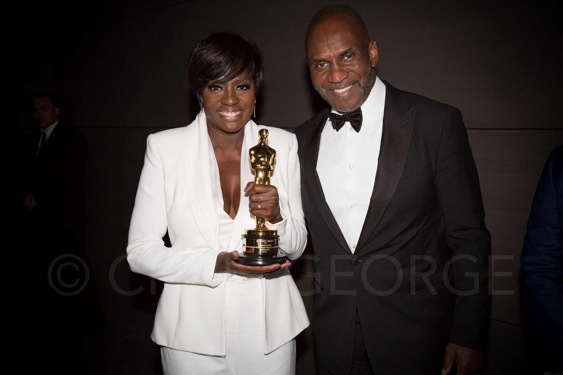 Viola Davis, Best Supporting Actress, 2017 with husband, Julius Tennon