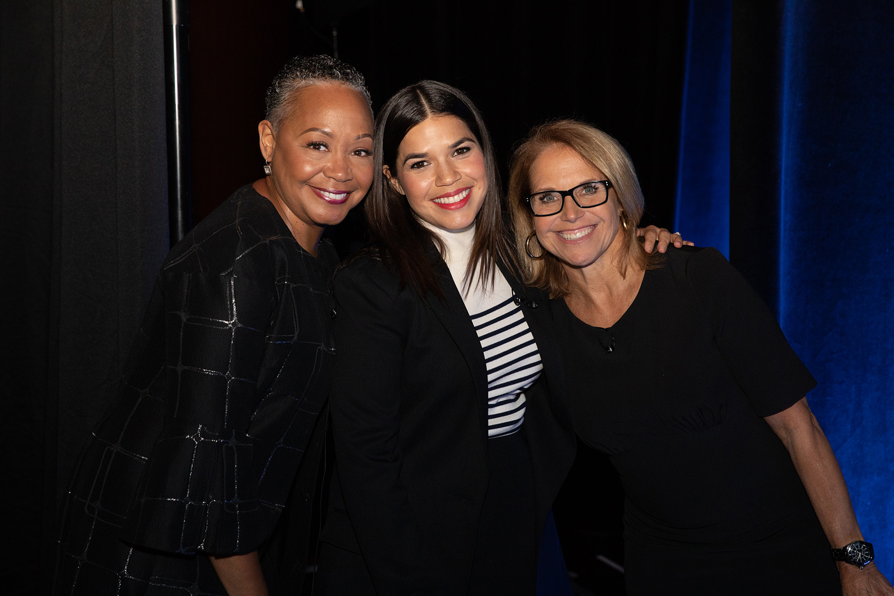 Lisa Borders, America Ferrera, and Katie Couric backstage