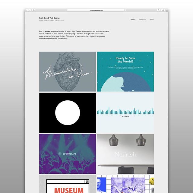 Excited to share the newly updated Web Design class website! There are 16 student projects on the website, and 11 of them are new projects from the Fall 2017 semester. Please check them out and visit students' portfolios.  comdwebdesign.com #webdesign #comdwebdesign