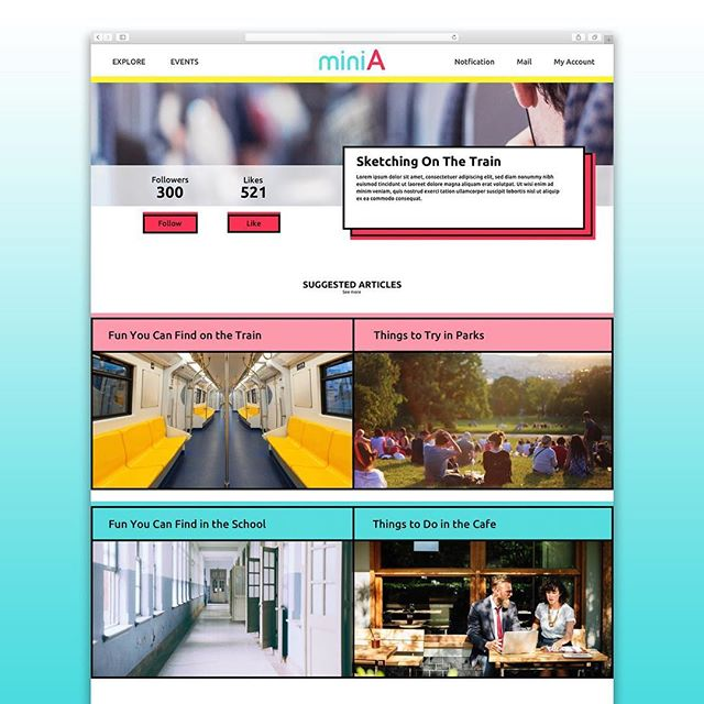 """miniA by Shujun """"Sophie"""" Hu """"miniA is a website where people can share their interests and build communities around them, using a smart tagging system."""" #interestshare #webdesign #comdwebdesign"""