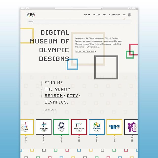 """Digital Museum of Olympics Design by Hyerin """"Julia"""" Choi """"The Olympic Games are the largest international sport festivals featuring summer and winter sports competitions. During the seasons, sport games and athletes get the most attention, but we often forget there are designers who work behind the scenes to provide great industrial designs, architectural designs, and visual designs.  This website functions as a digital museum for designs in the Olympics, including summer, winter, and the Paralympic games. It introduces designers, design processes, and all other design contents."""" #olympics #olympicsdesign #digitalmuseum #webdesign #comdwebdesign"""
