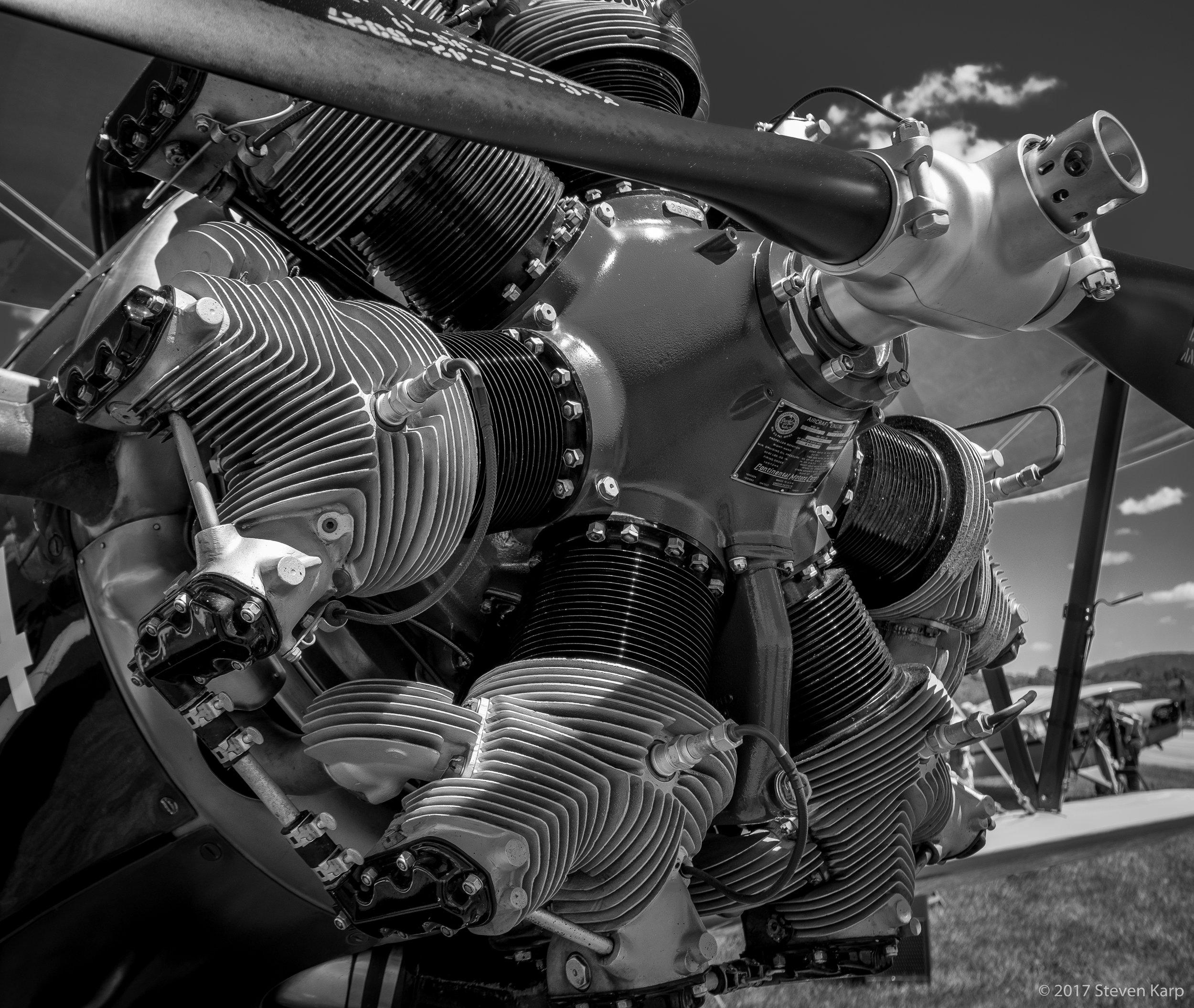 Vintage Boeing Stearman Engine