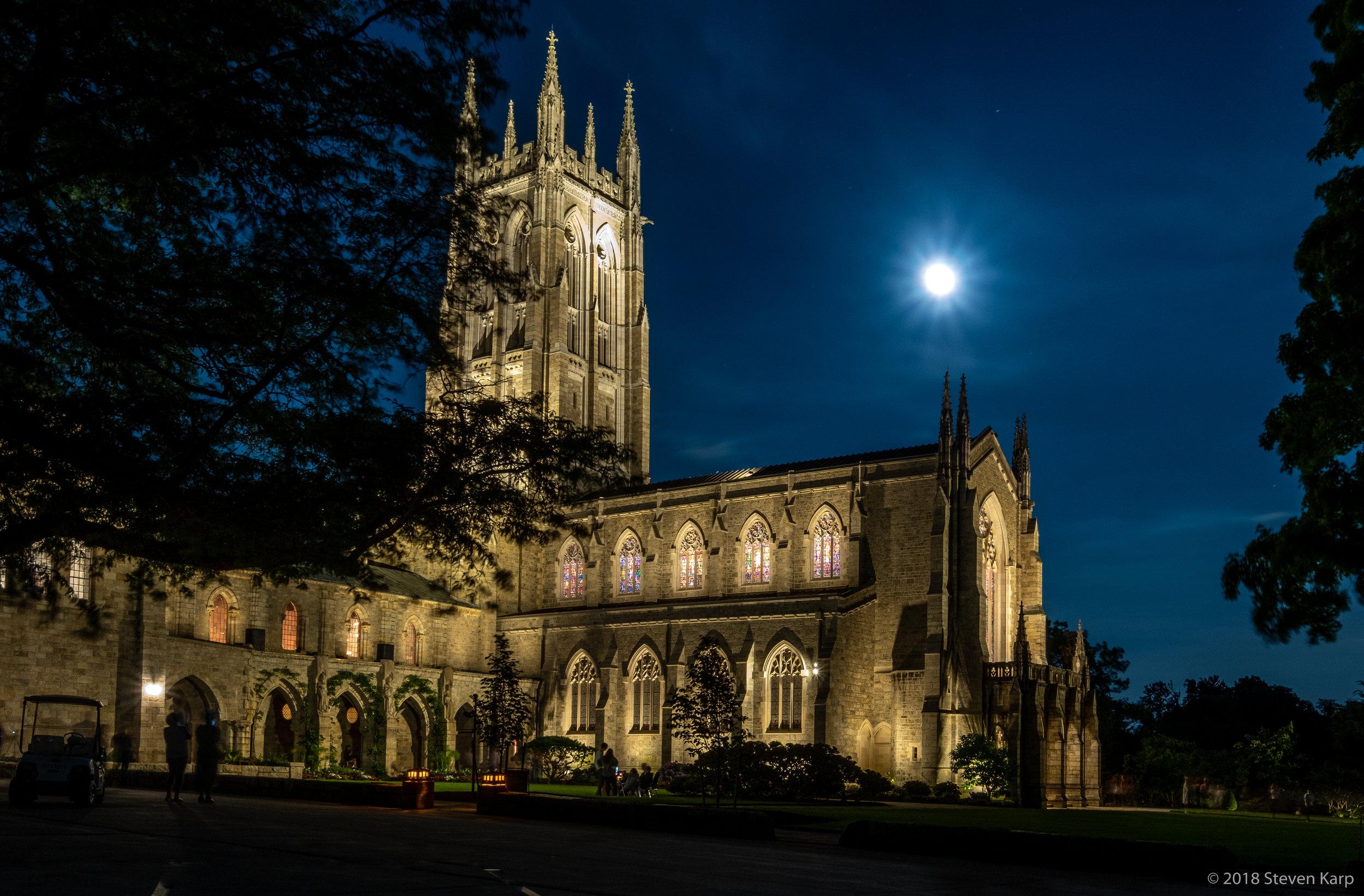 Bryn Athyn Cathedral w. Full Moon