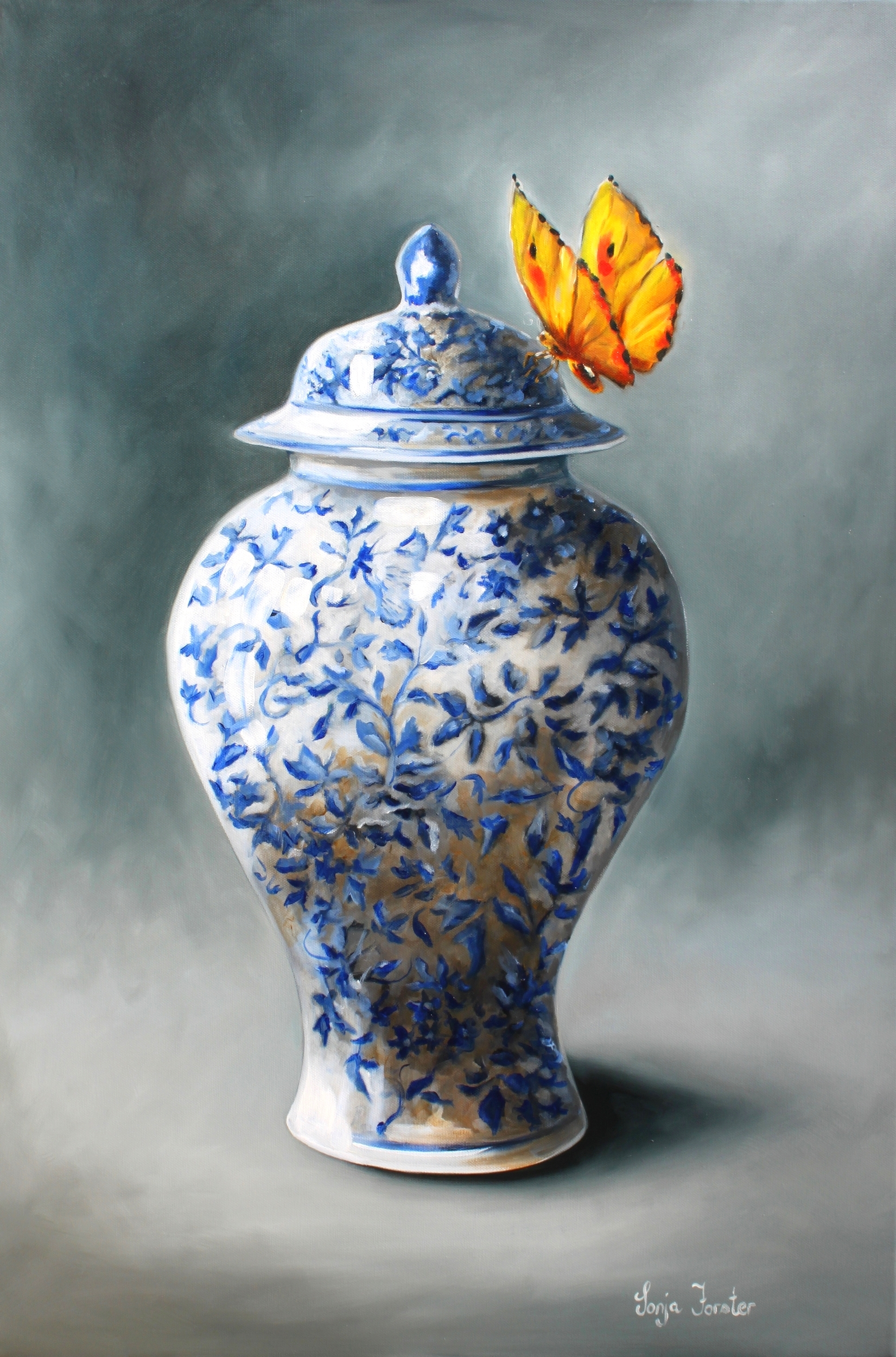 Sonja Forster Art - Blue and White Ceramic Pot - Oil on Canvas.jpg