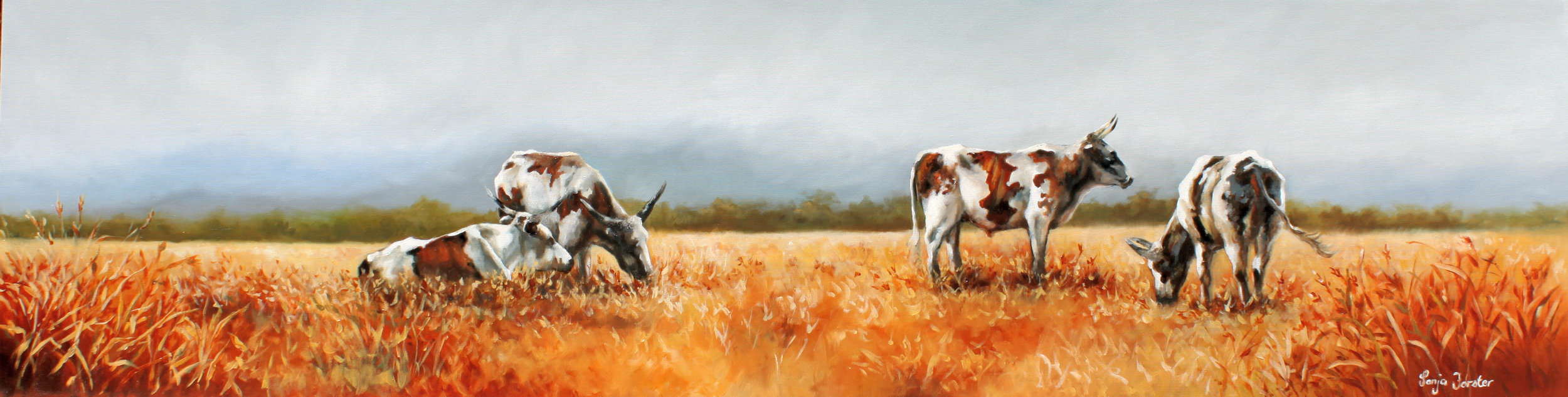 "Ngunis in the veld | Oil on Canvas | 80""x20"" 