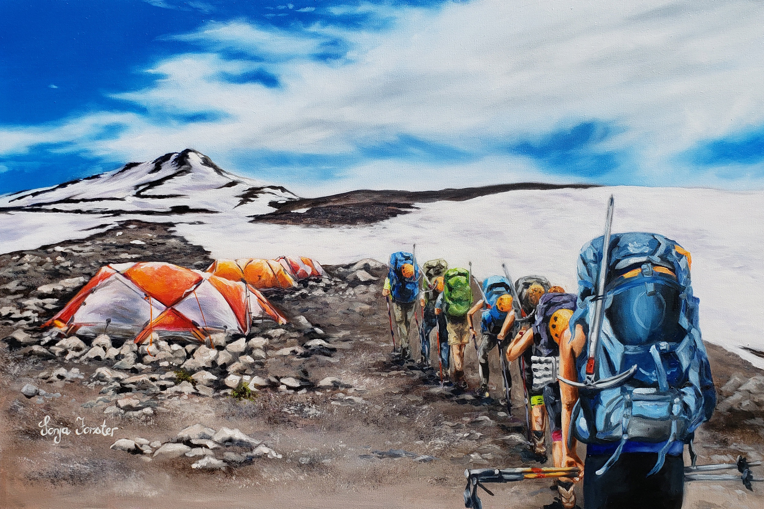 Mount Shasta Hike - Oil on blocked canvas | 24