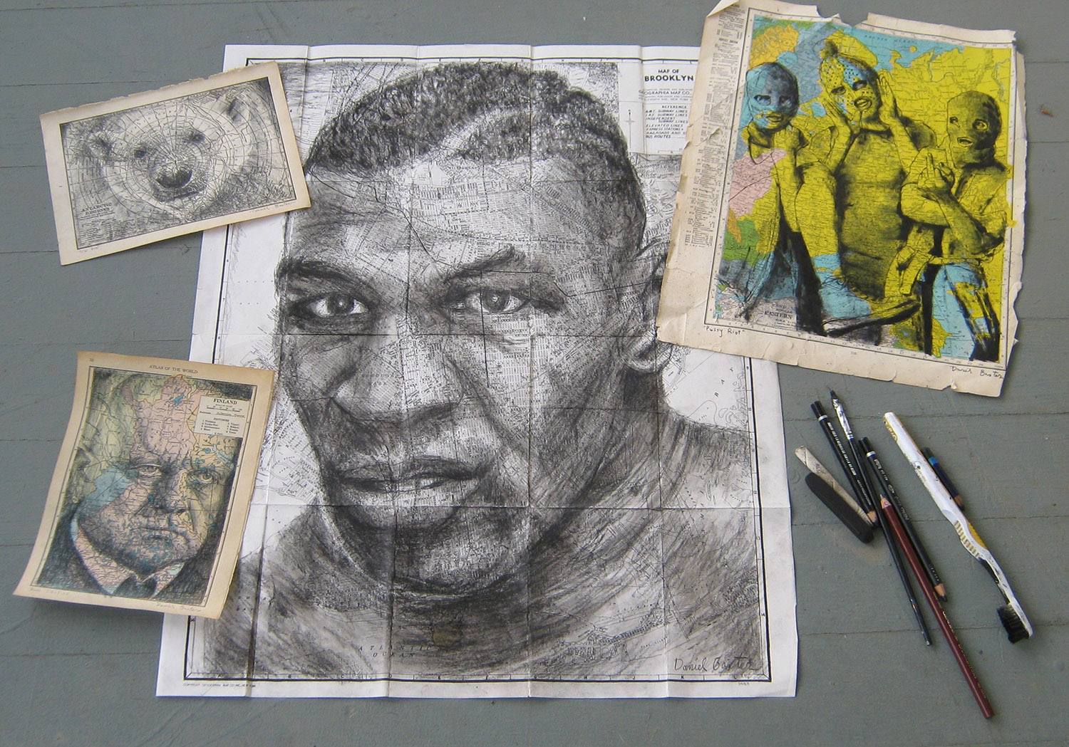 "I took this group portrait of some recent drawings. ""Mike Tyson"" measures 18"" by 22""."