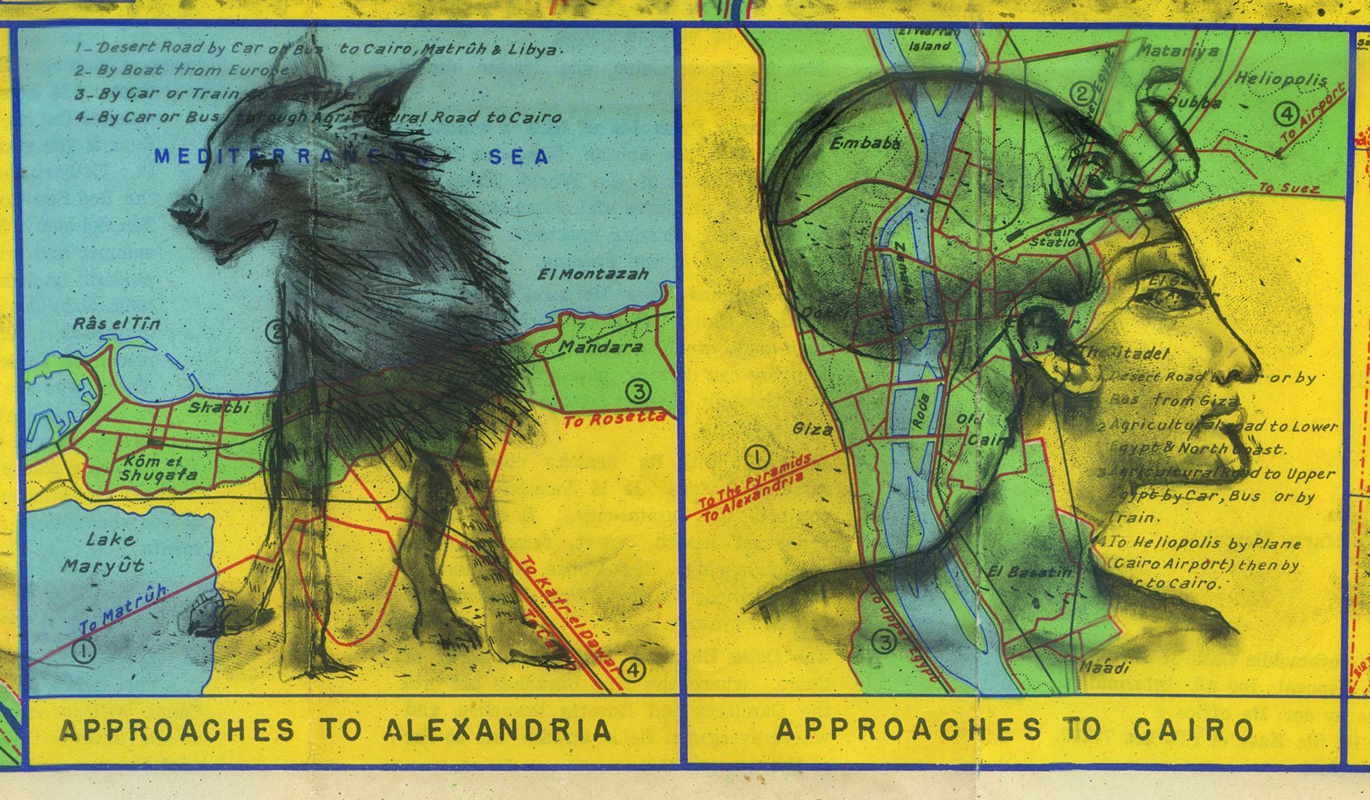 An Egyptian hyena and woman
