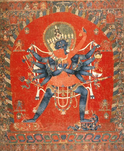 A Tibetan  thanka  depicting the  yab-yum  of  Vajravarahi and Chakrasamvara