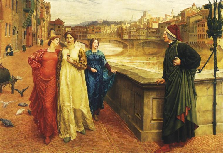 Dante beholds Beatrice in the Divine Comedies; painting by Henry Holiday  (1839–1927)
