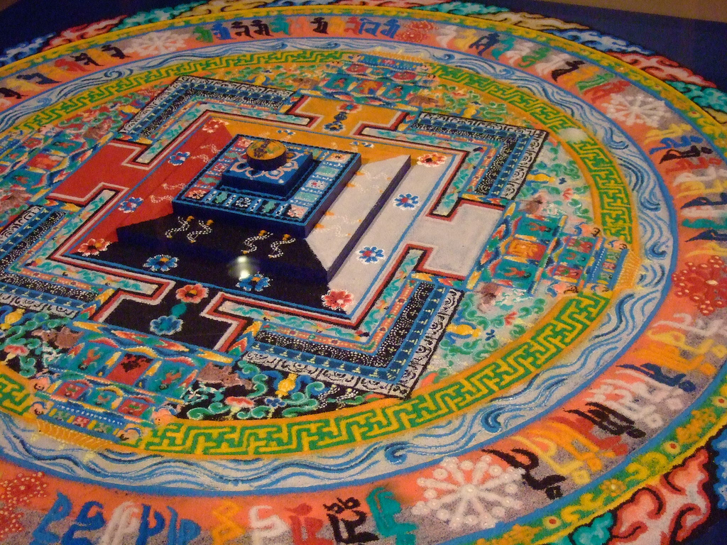 Kalachakra sand mandala constructed by Tibetan artist, Lobsang Samten