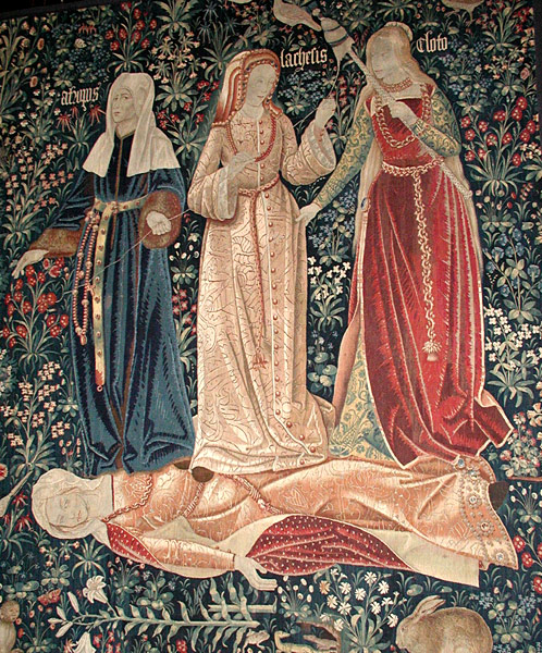 The three  Moirai , or the triumph of death (Flemish tapestry c. 1520, Victoria and Albert Museum, London). Note how the thread of life is being spun by  Clotho , measured by  Lachesis , and finally cut off by  Atropos .
