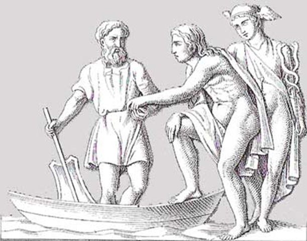 Charon, the ferryman of the dead, receives a coin from a soul guided by Hermes (Mercury) in his role as psychopomp (Wikimedia)