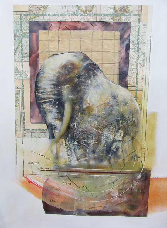 Ganesha In The World , 34 x 26 inches, Mixed Media on Paper, 2011
