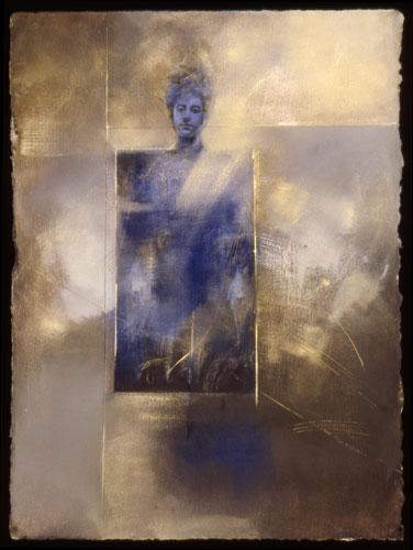 Blue Kore , 35 x 27 inches, oil on sized paper, 2002