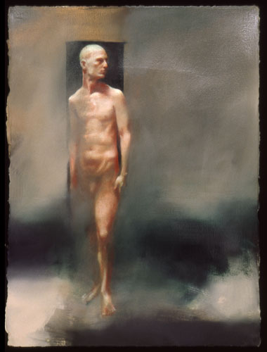 Green Kouros , 35 x 27 inches, oil on sized paper, 2002
