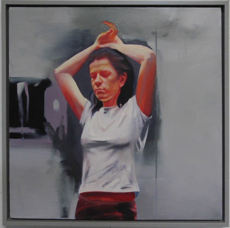 Young Woman with Hands Over Head 2 , 29 1/2 x 29 1/2 inches, oil on canvas, 2014