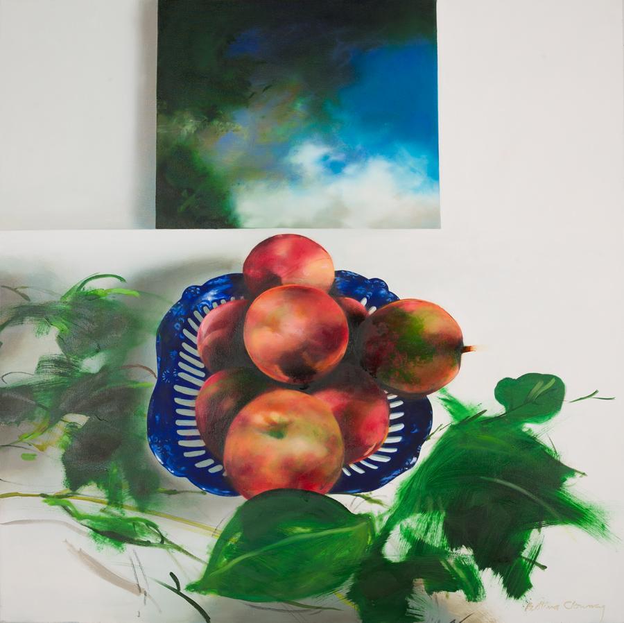 "Peaches, Landscape, 41"" x 41"",  oil,2013"
