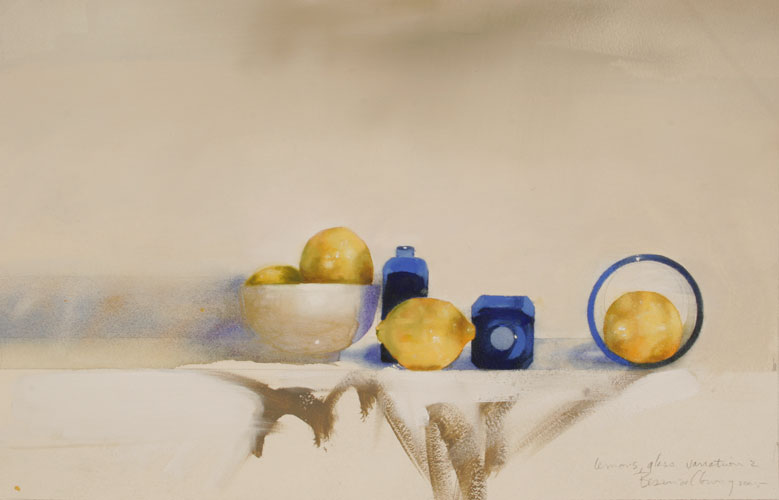Lemons with Blue Glass #2 , 31 x 23 inches, mixed media on sized paper, 2005