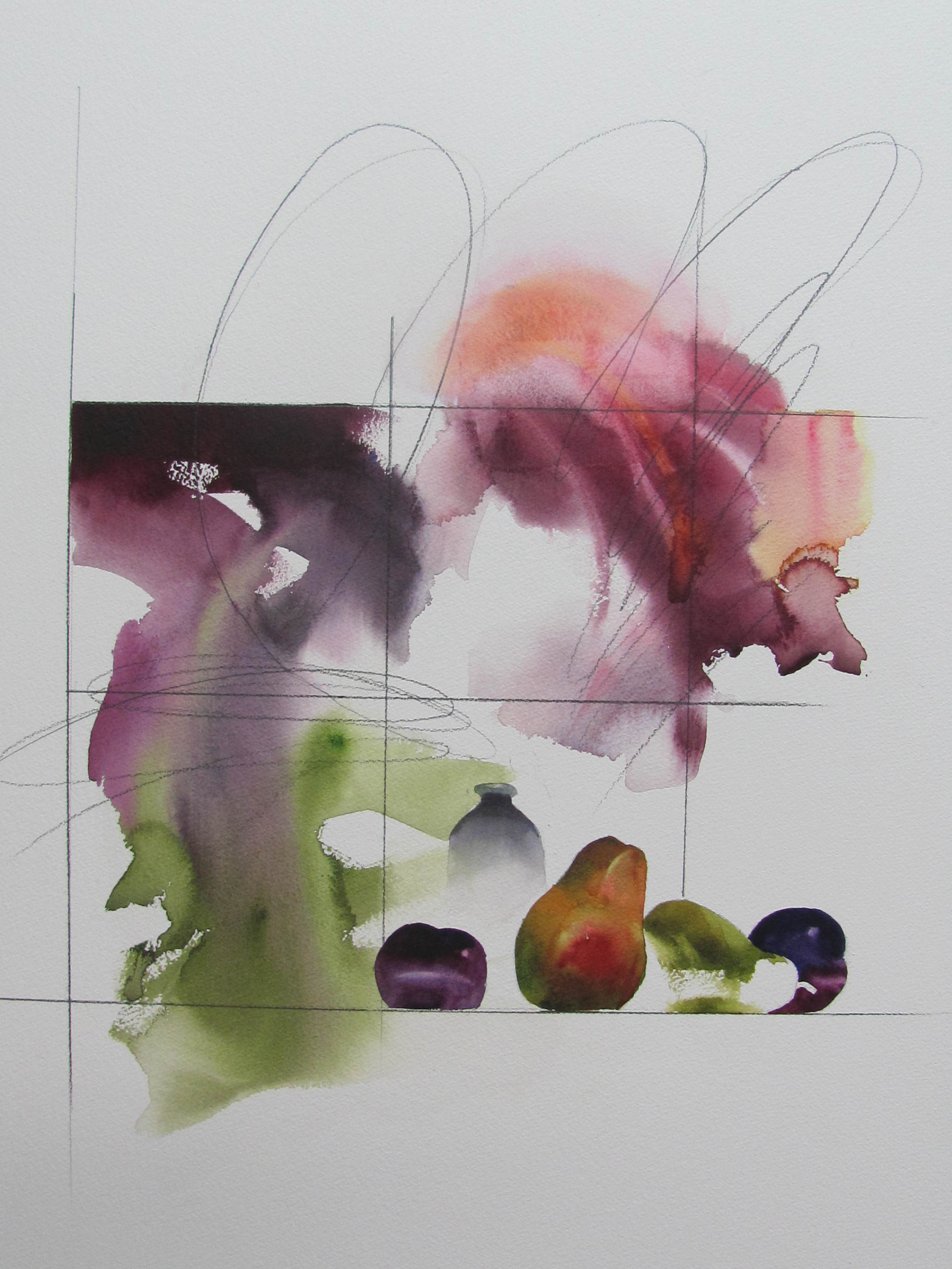 Plums, Pear , 28 1/2 x 35 1/2 inches, watercolor, 2013