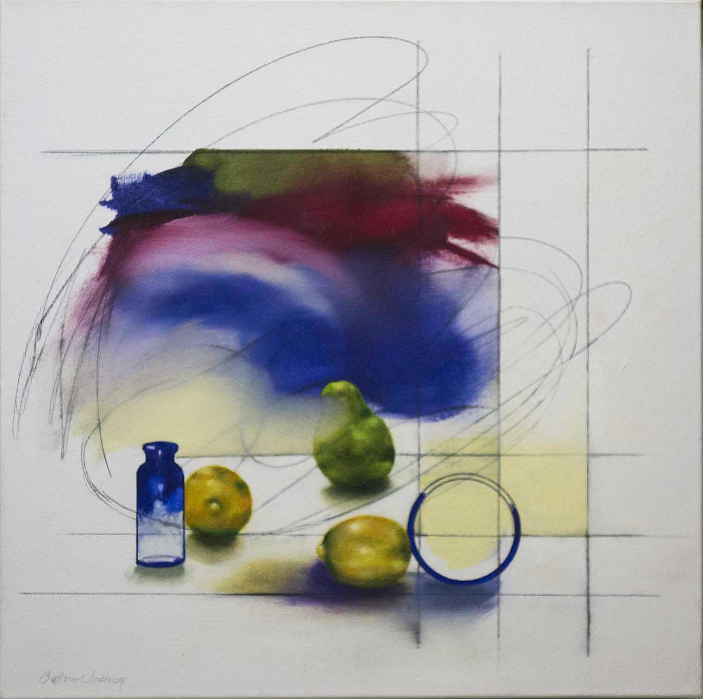 "Blue Bottle  25 1/2"" x 25 1/2"", oil, 2015"