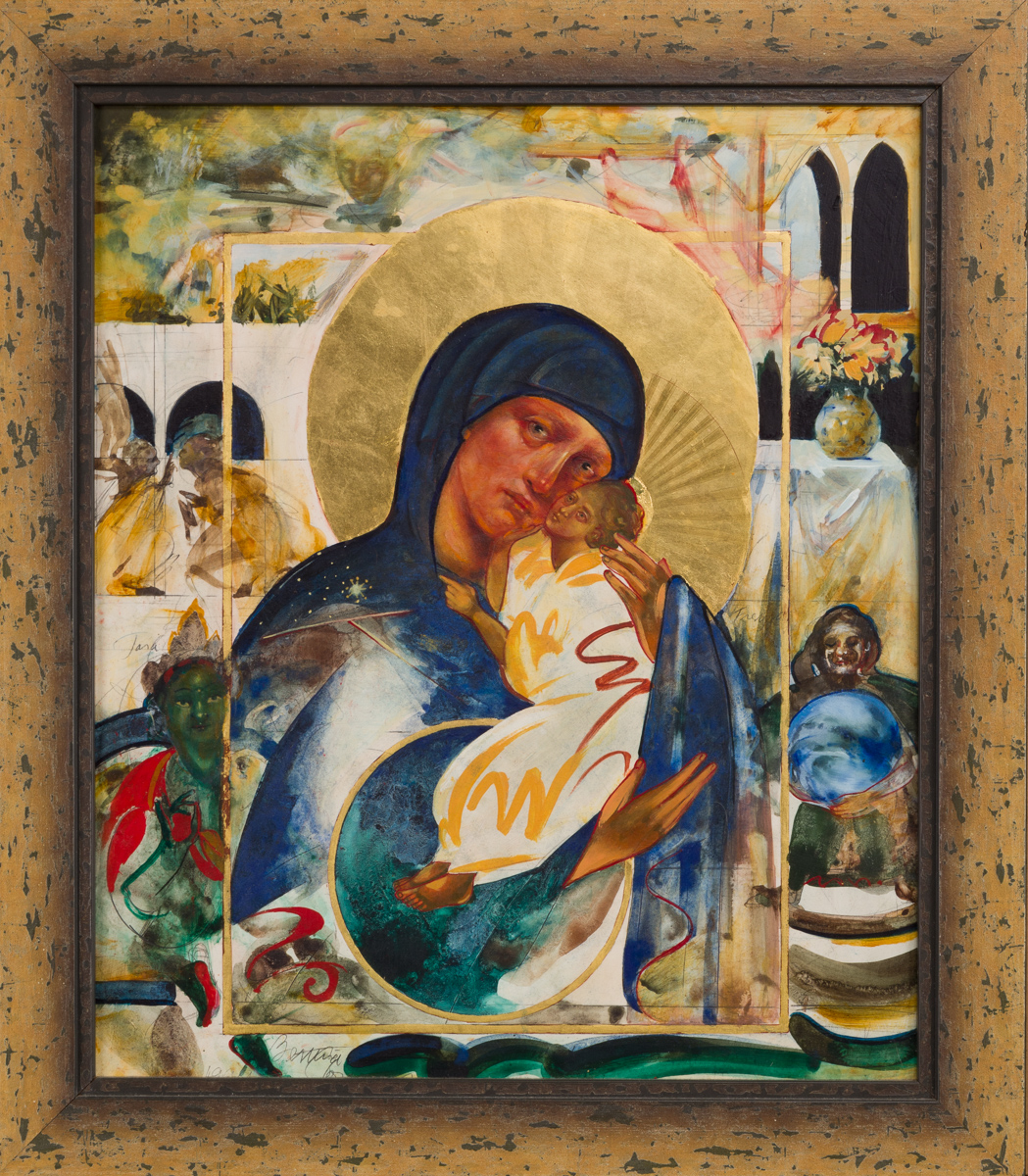 non-traditional icon of Mother of God with goddesses. Private collection.