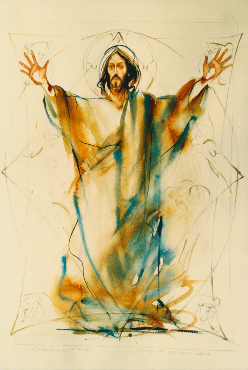 Watercolor of Christ in Majesty. Private collection.