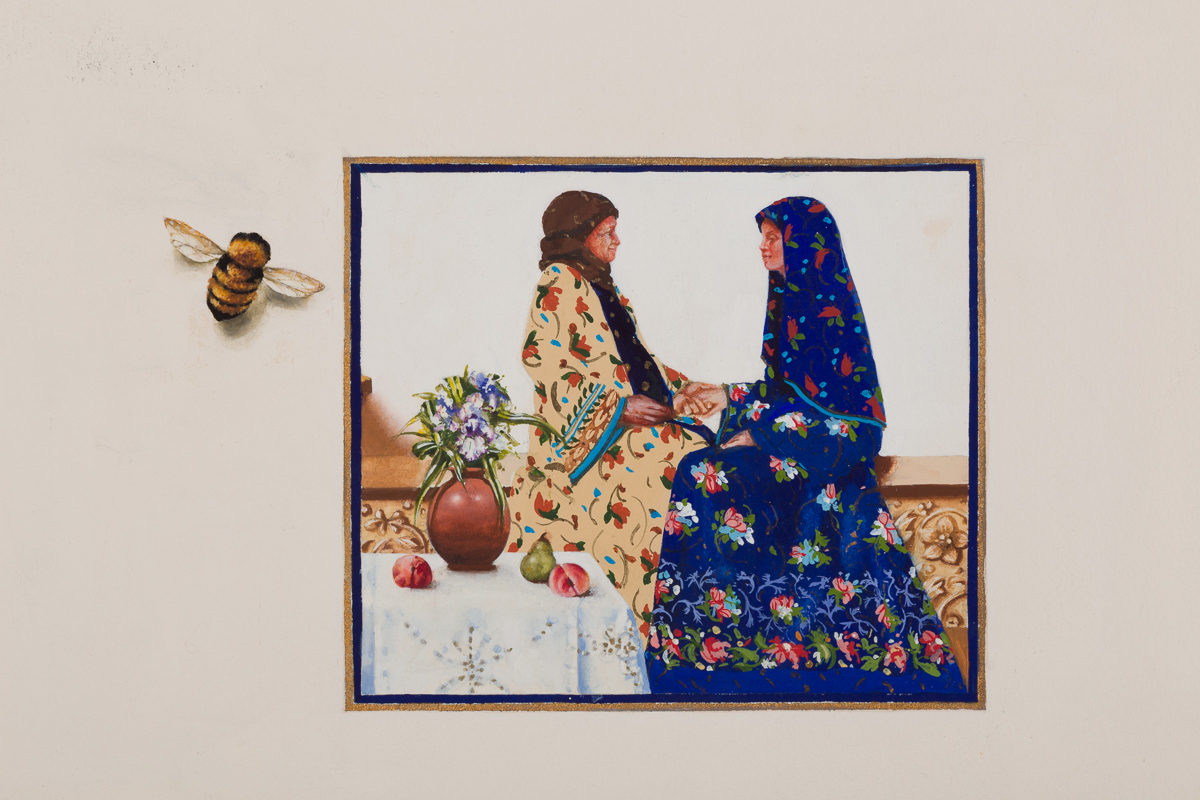 Mary visits Elizabeth. watercolor, available.
