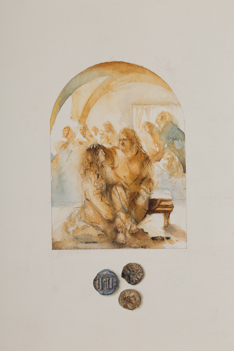 A woman washes Jesus' feet. Watercolor,  available.