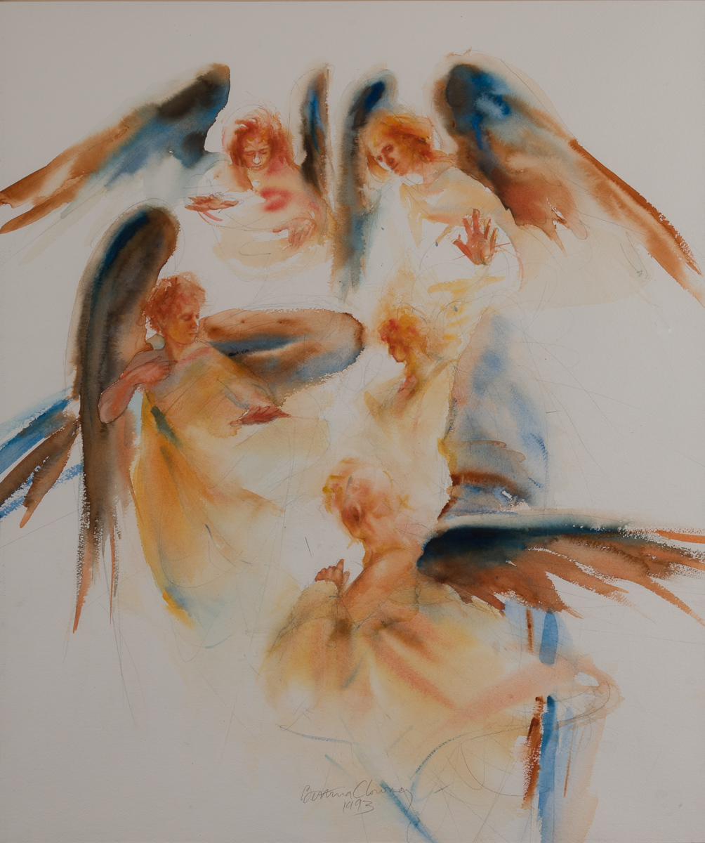 Angels Listening. Watercolor, available