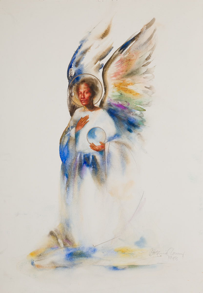 Angel with sphere. Watercolor, available.