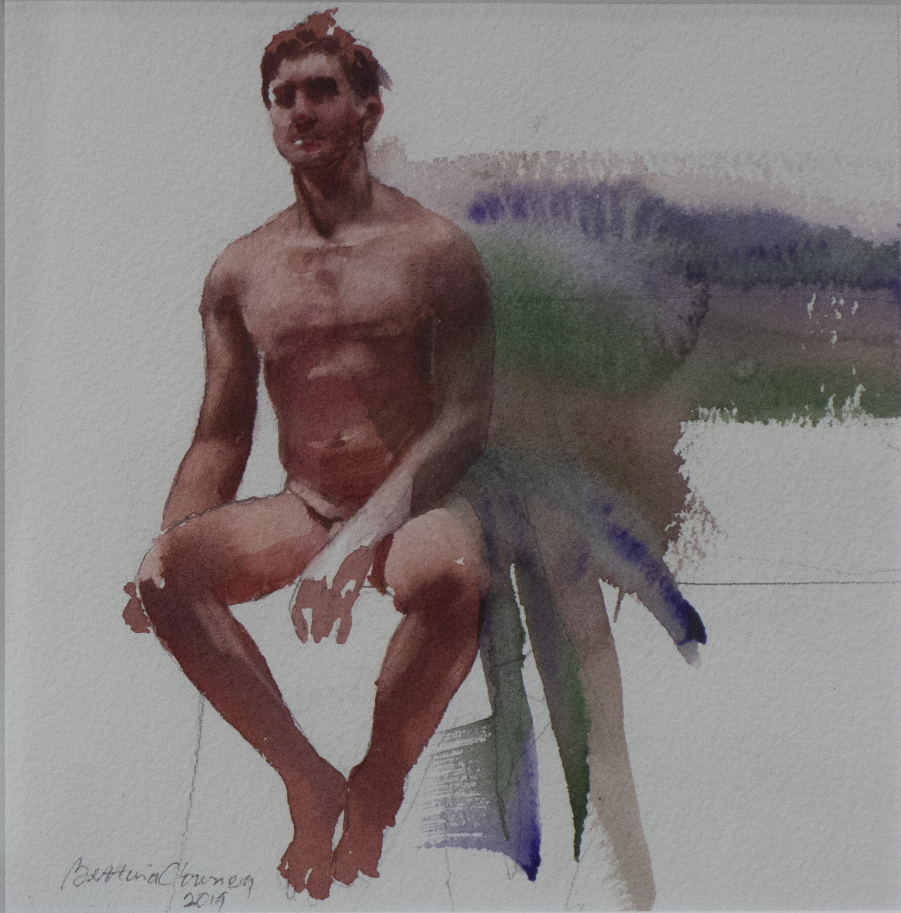 """Male Nude #1      13 3/4"""" x 13 3/4"""" framed dimensions      watercolor, 2019"""