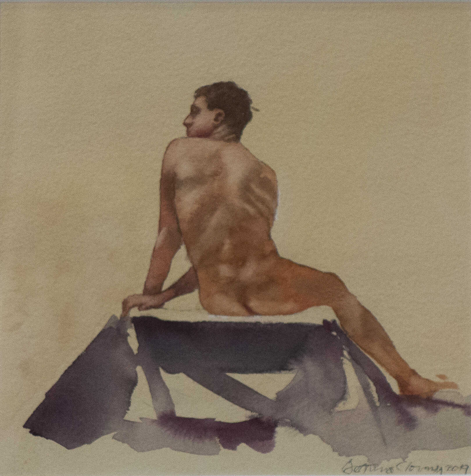 """Male Nude #3 .      13 3/4"""" x 13 3/4"""" framed dimensions       watercolor, 2019"""