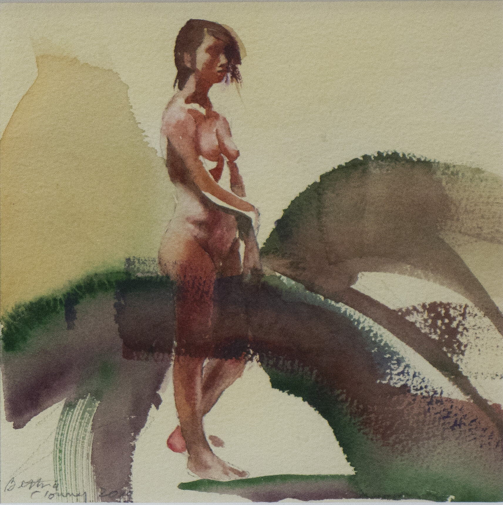 """FemaleNude #2 .      13 3/4"""" x 13 3/4"""" framed dimensions.      watercolor, 2019"""