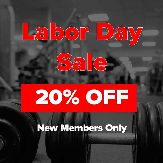 20% OFF!!! Labor Day Sale!  New members only. Starts tomorrow and ends Tuesday. . . . . . . . . . #strongfitcity #elitegymnj #houseofgains #JerseyStrong #downtownjerseycity #jerseycity07304 #personaltrainer #letmebeStrong #crossfitgames #hiitworkout #jerseycitylife #hobokenfitness #newjersey #buildingstrongerme #classpass #classpassnyc #WSHH #jerseycityheights #jerseycitymakeityours #Crossfitter #newarkfitness