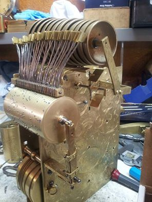 18th Century Musical Bracket Clock  New musical cylinder repair services provided in collaboration with David Lindow-Hartwig's Clocks https://lindowmachineworks.com/