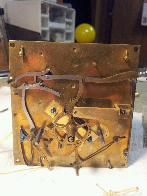 Vienna Regulator Movement-Cleaned and Oiled      Front-Before Cleaning