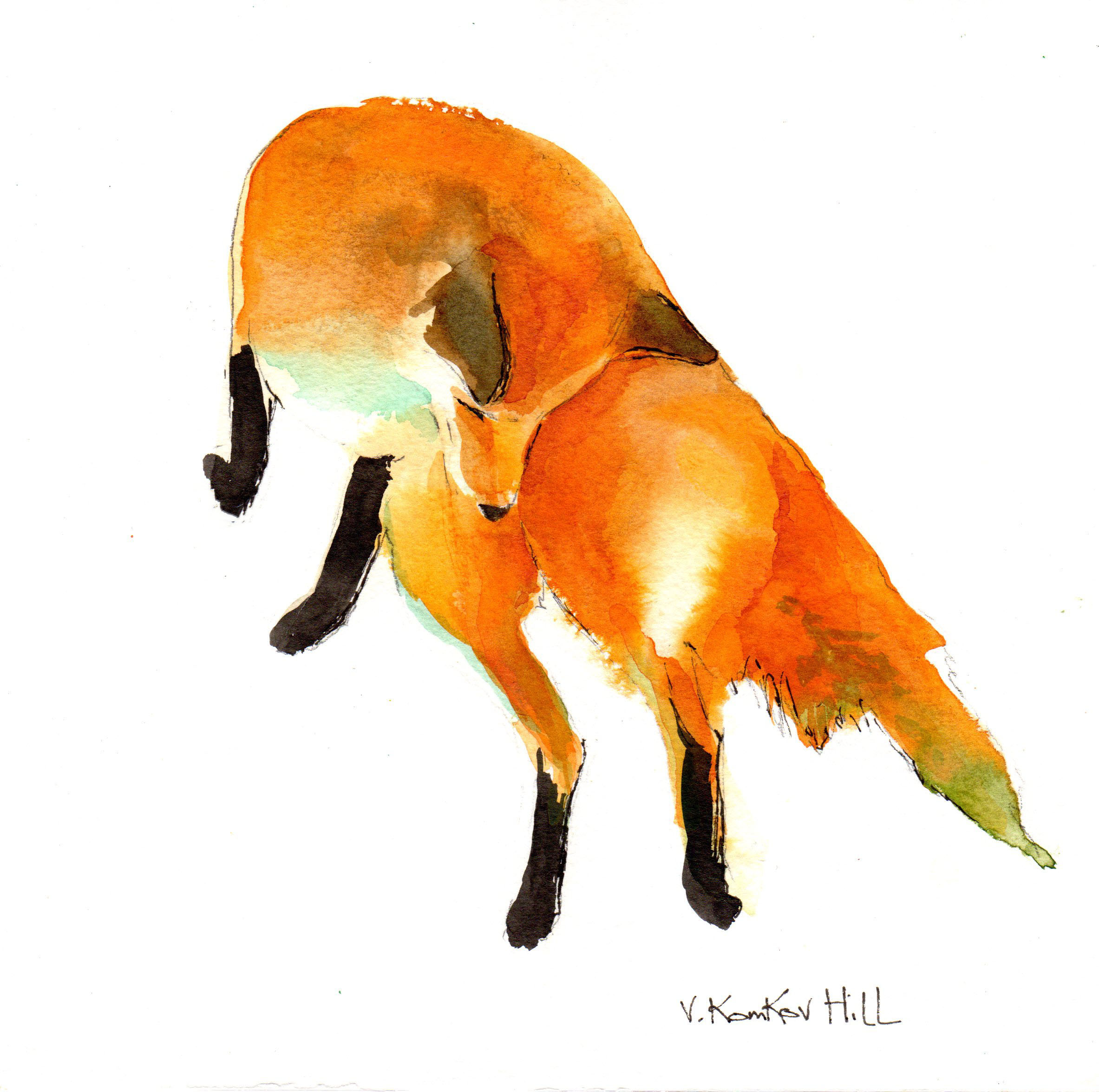 Pouncing Fox. acrylic on watercolour paper. 2016