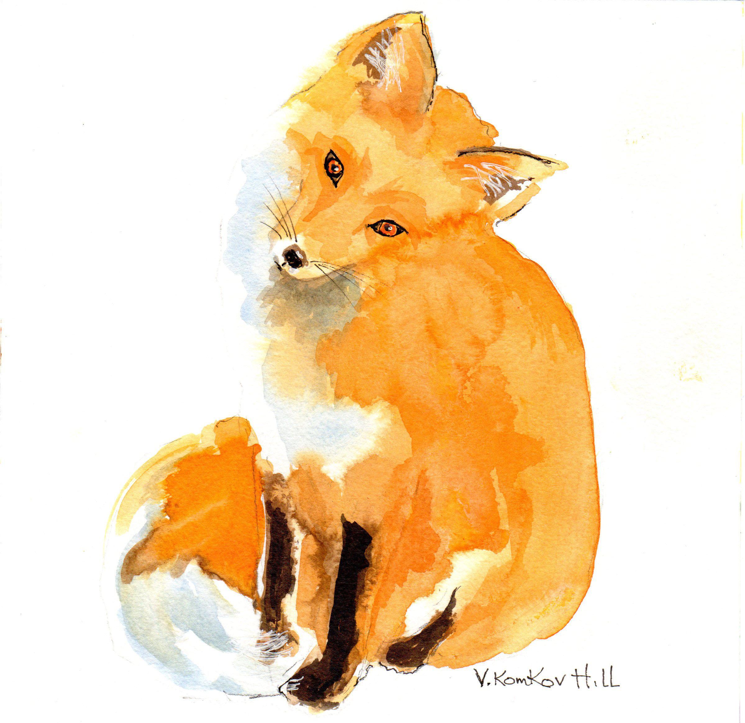 Sitting Fox. acrylic on watercolour paper. 2016