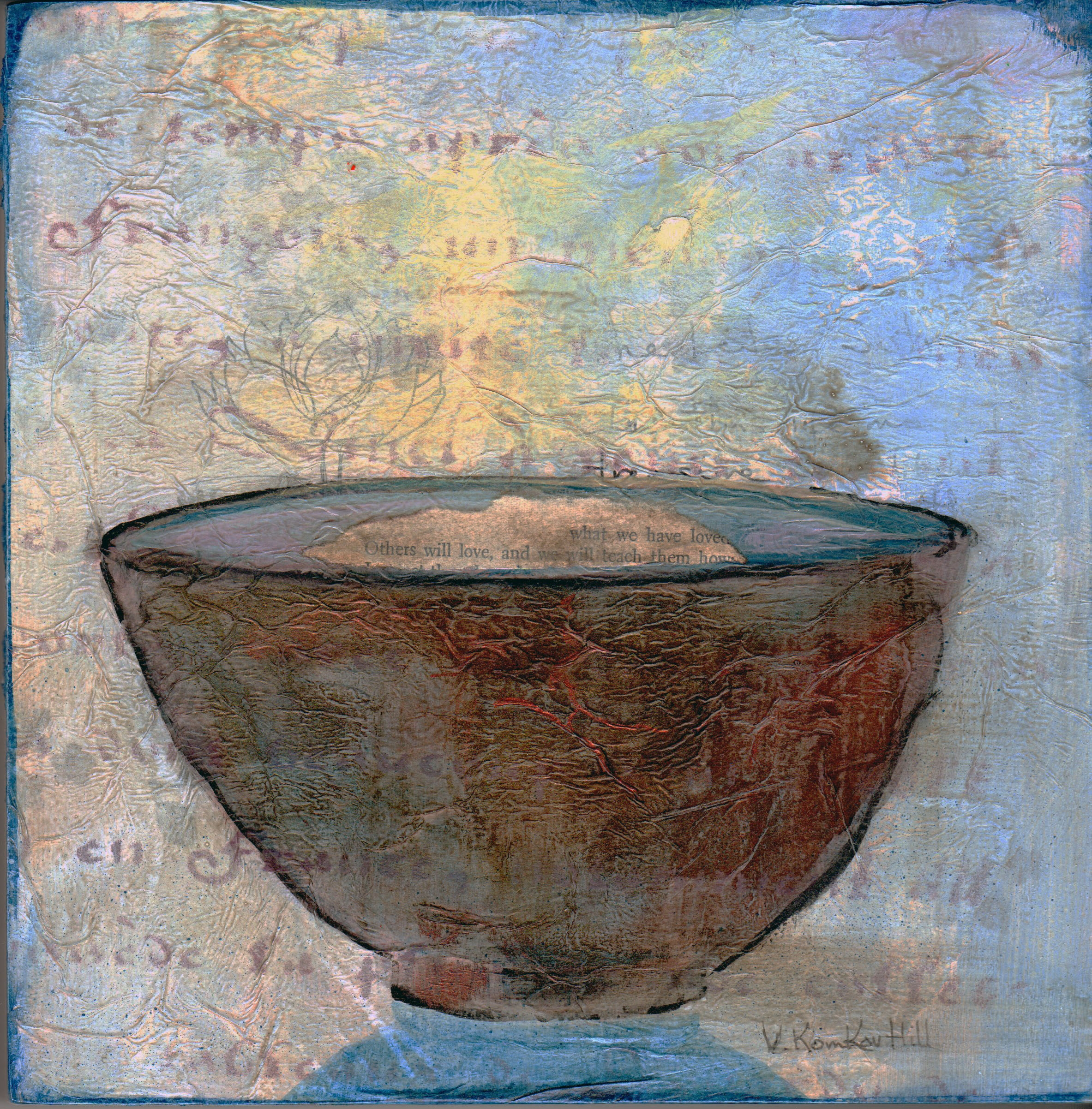 """Empty Bowl #2- acrylic and collage. (2016) 8"""" x 8"""""""