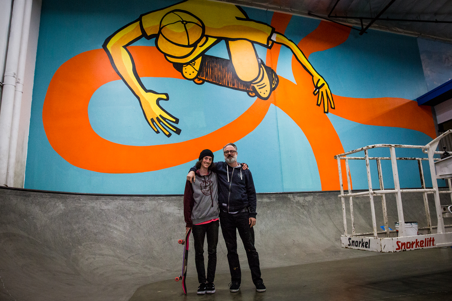 """Not To Scale"" mural by Andy Jenkins at the Berrics in Los Angeles. Photos Chasen Marshall."