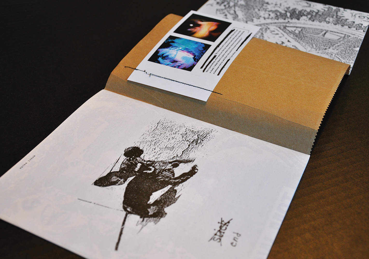 """Bend issue #11, """" Bend House """" featured a fold-out cover attaching two different publications; one by Andy himself, and the other by artist,  Rodger Bridges . Artist's bios were sewn onto the back cover."""